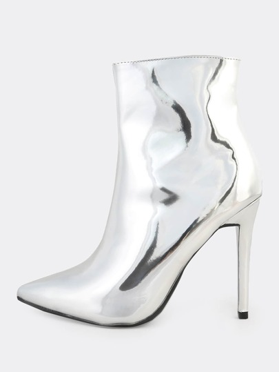 Plain Pointy Toe Booties SILVER