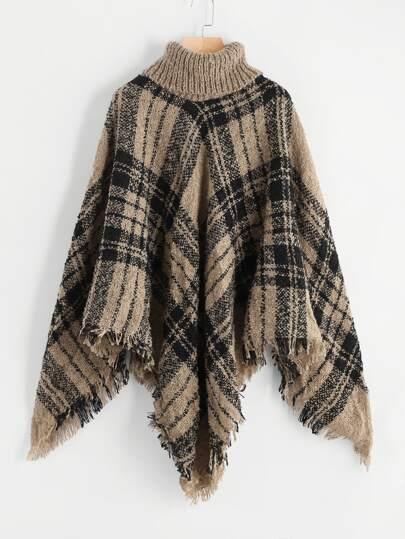 Fringe Hem Tartan Poncho Sweater