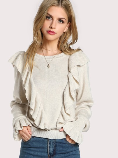 Ruffle Front Solid Sweater Top OATMEAL