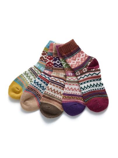Mixed Pattern Socks 5pairs