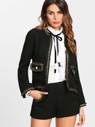 Button Embellished Fringe Trim Blazer & Shorts Set