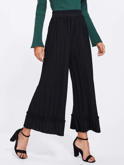Pleated Frill Wide Leg Pants