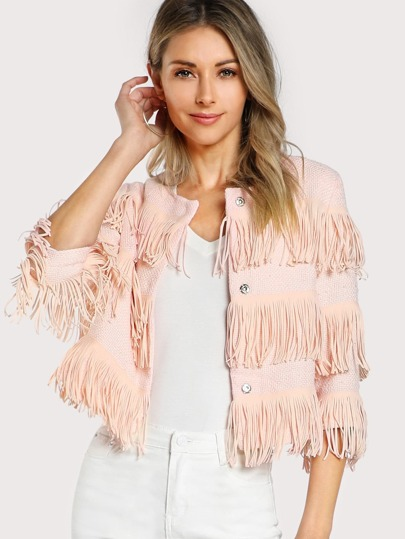 Fringe Trim Hidden Button Textured Jacket