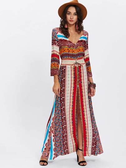 Split Front Drawstring Waist Dress