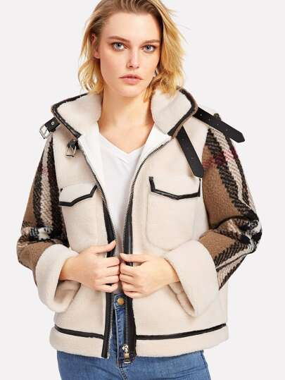 Contrast Plaid Tweed Sleeve Faux Shearling Jacket