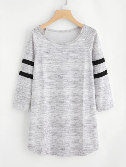 Varsity Striped Raglan Sleeve Marled Tee Dress