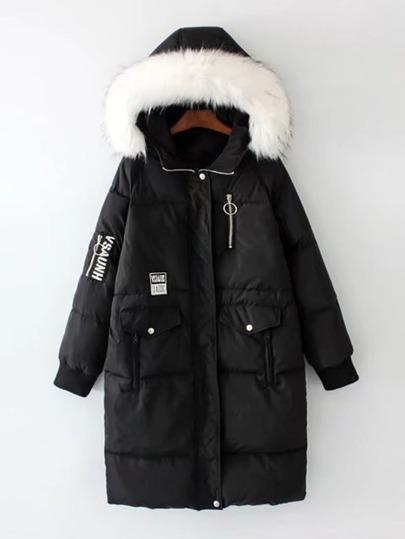 Abrigo de plumas largo con capucha de piel sintética