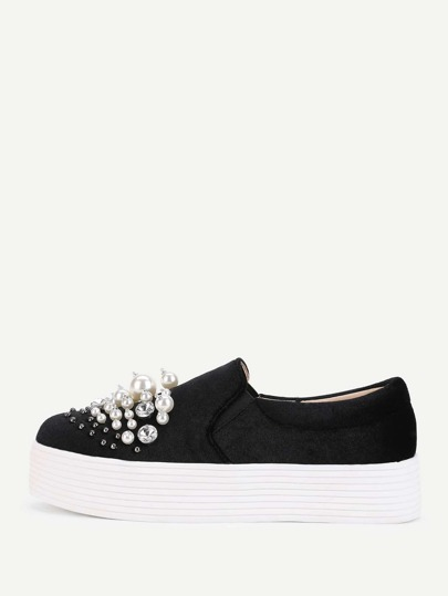 Zapatillas slip on con perlas artificiales