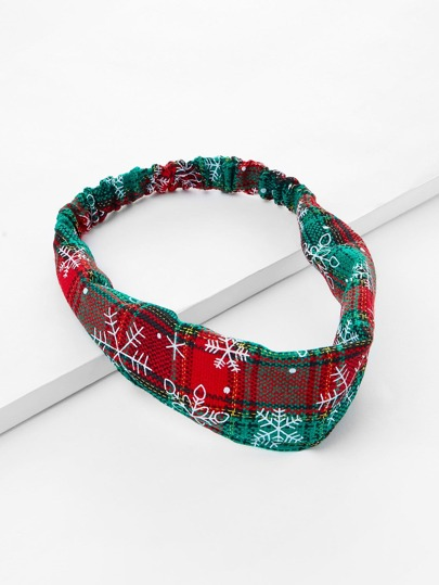 Christmas Snowflake Print Plaid Headband