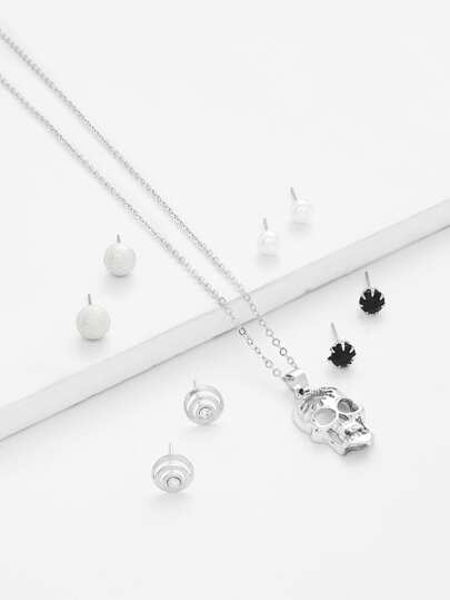 Skull Pendant Necklace & Stud Earring Set
