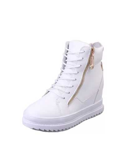 أحذية الرياضة-بكعب عال مزين بسحاب