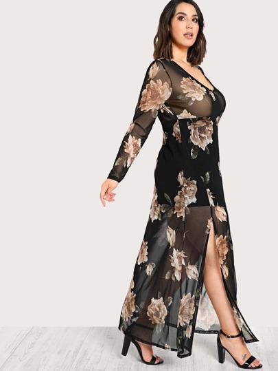Floral Print Sheer Dress BLACK