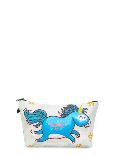 Unicorn Print Zipper Makeup Bag