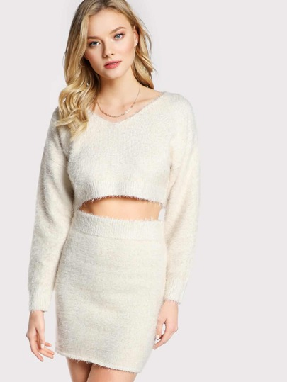 Long Sleeve Fuzzy Top and Skirt Set CREAM