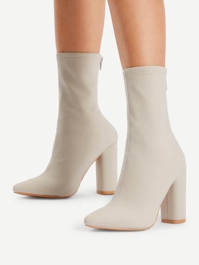Back Zipper Block Heeled Boots