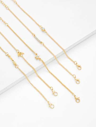 Rhinestone Moon & Star Chain Bracelet Set