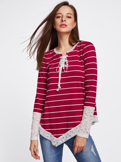 Contrast Flower Lace Trim Ribbed Tee