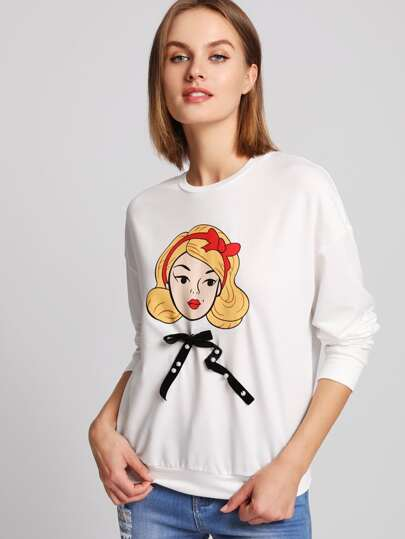 Girl Print Pearl Beading Bow Front Sweatshirt