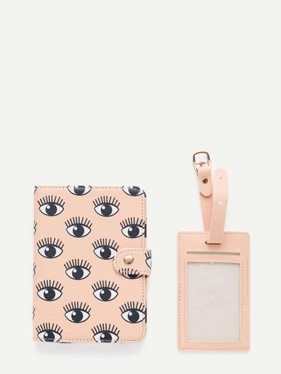 Eye Print PU Luggage Tag & Passport Package