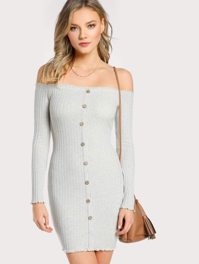 Off Shoulder Long Sleeve Ribbed Lettuce Hem Dress IVORY