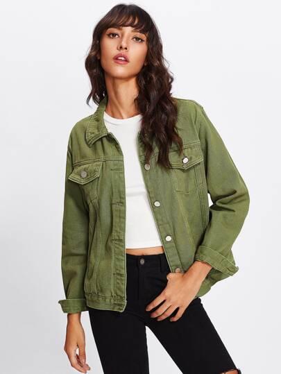 Army Green Basic Denim Jacket