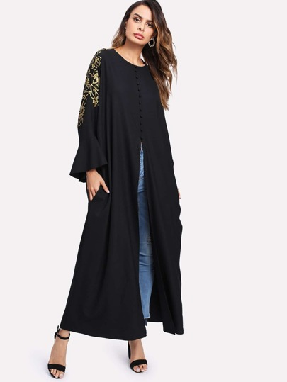 Gold Print Buttoned Split Front Abaya