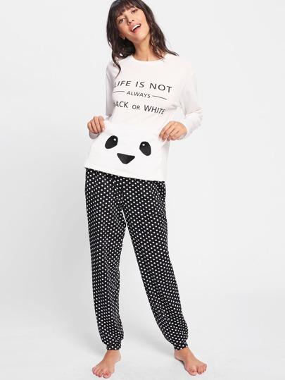 Conjunto de pijama de lunares con parche de oso