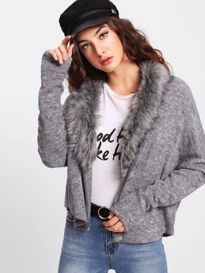 Faux Fur Neckline Heather Knit Dolman Coat