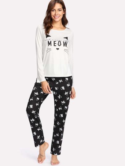 Conjunto de pijama con gato