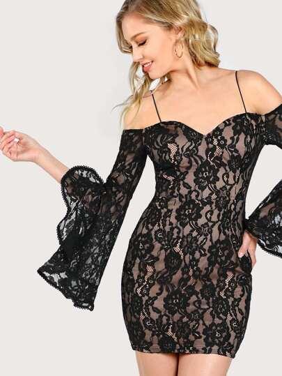 Off Shoulder Bell Sleeve Sweetheart Dress BLACK