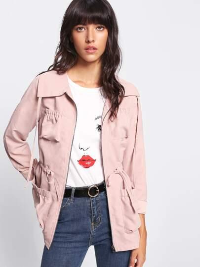 Pocket Patched Drawstring Zipper Jacket