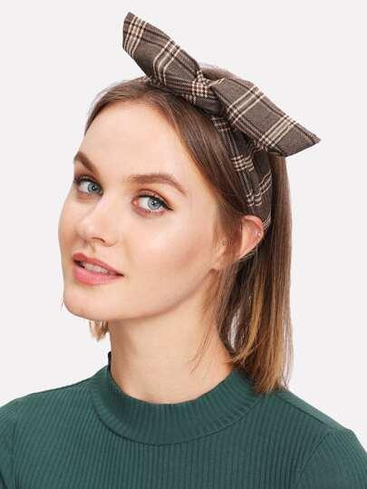 Gingham Print Ear Design Headband