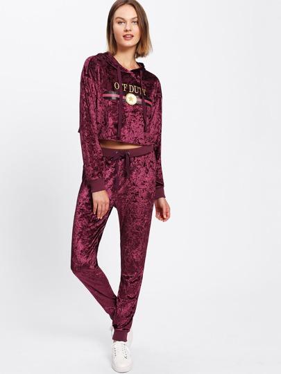 Crop Print Velvet Hoodie & Sweatpants Set