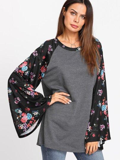 Camiseta de punto con manga raglán floral