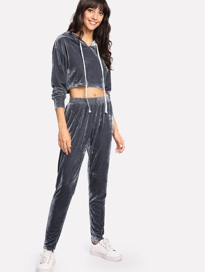 Drawstring Hoodie Top And Pants