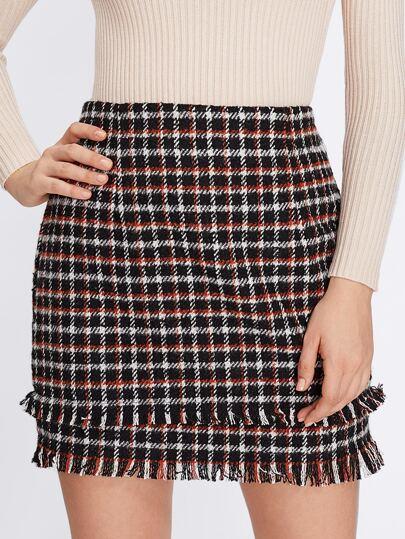 Tiered Fringe Hem Plaid Skirt