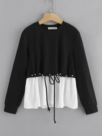 Contrast Hem Drawstring Pearl Detail Sweatshirt