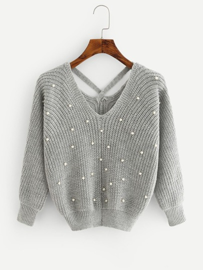 Criss Cross Pearl Beaded Sweater
