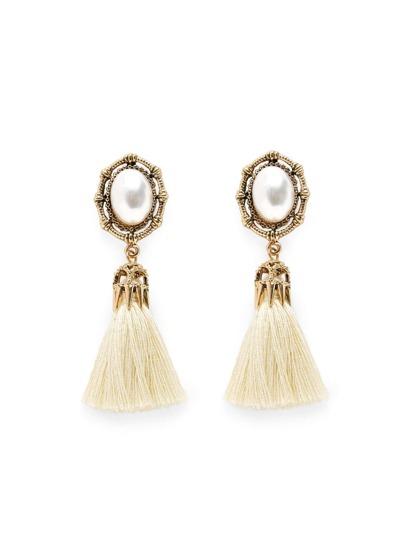 Pendientes largos con fleco arriba con perla artificial