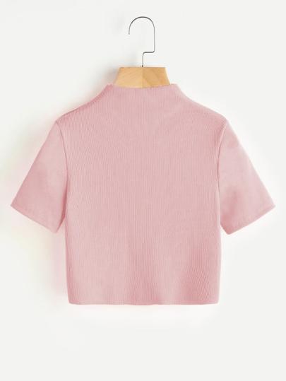 Suéter corto de canalé de cuello alto