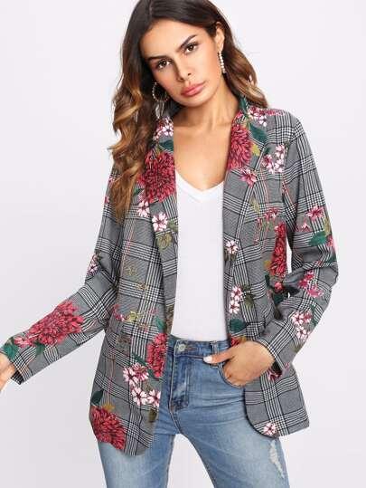 Faux Pocket Detail Floral And Plaid Blazer