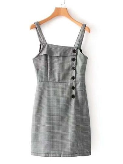 Single Breasted Plaid Pinafore Dress