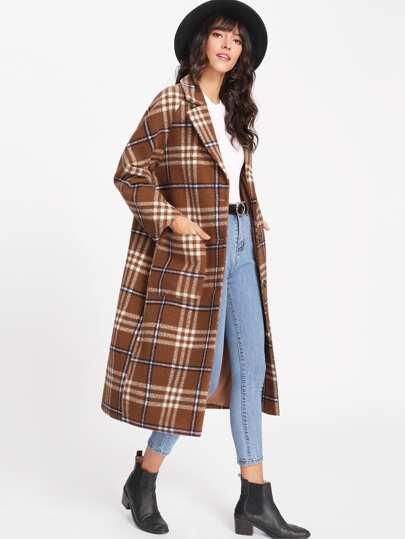 Manteau long tartan