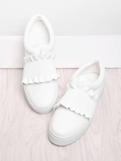 Ruffle Detail Slip On Sneakers