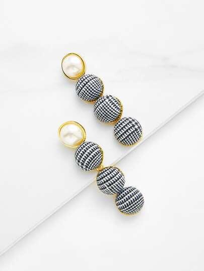 Pendientes con diseño de perla de imitación y botón