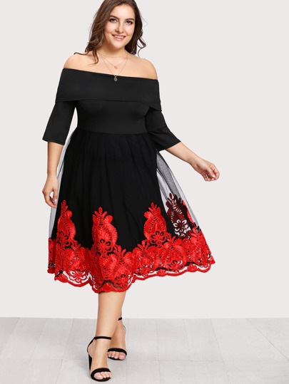Off Shoulder Fold Over Mesh Overlay Dress