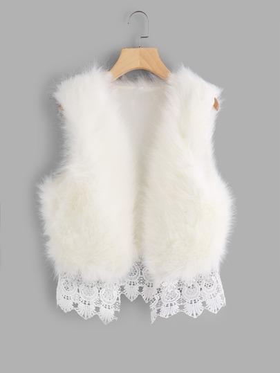 Contrast Lace Hem Faux Fur Vest