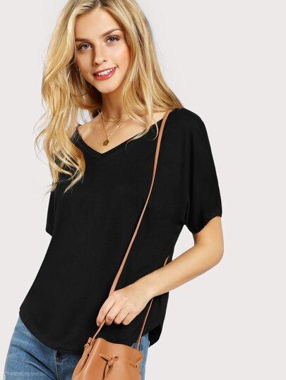 Solid V Back T-shirt