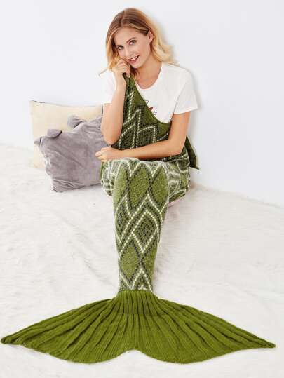 Geometric Pattern Fish Tail Mermaid Blanket