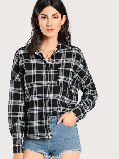 Drop Shoulder Button Up Checkered Blouse